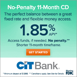 CIT Bank 1.85% No Penalty CD